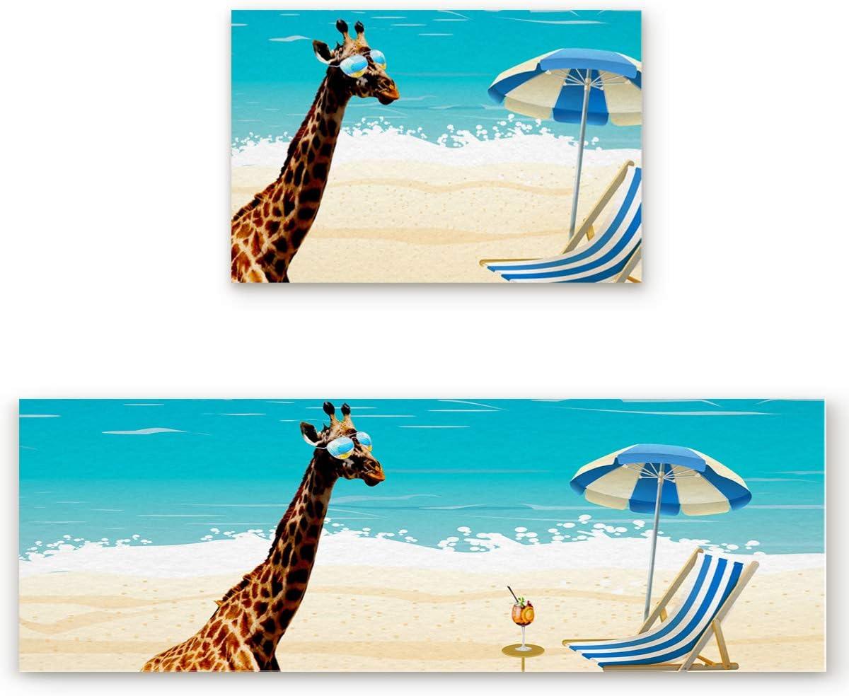 Kitchen Rug and Mats 2 Piece, Summer Vacation Giraffe Beach Kitchen Mat Comfort Doormats, Non-Skid Washable Standing Runner Rug Set, 19.7 x 31.5in + 19.7 x 47.2in