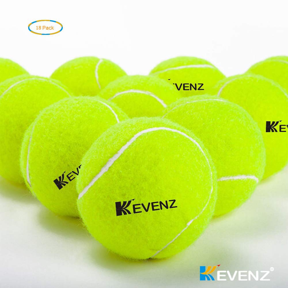 KEVENZ 18-Pack Standard Pressure Training Tennis Balls, Highly Elasticity, More Durable, Good for Beginner Training Ball