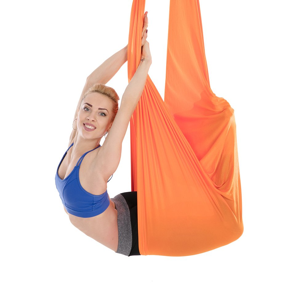 Tofern Aerial Yoga Hammock Kit 5.5 Yards Antigravity Trapeze Inversion Exercise Home Indoor Outdoor Yoga Silk Swing Sling Set with Hardware Ceiling Hooks Bolts 2 Extension Straps