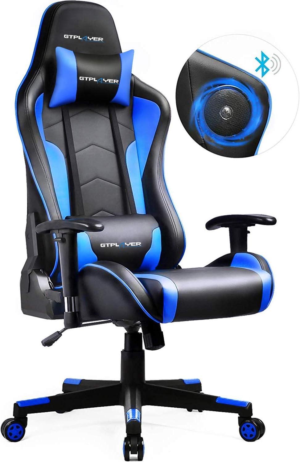 GTPLAYER - Silla de escritorio con altavoz, diseño ergonómico, con función multifunción, para jugar a videojuegos