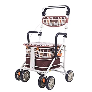 LYXPUZI Carro Viejo | Walker Carrito de la Compra de Cuatro Ruedas de Edad para Comprar Alimentos camión Scooter | El Caminante Puede Sentarse a Mano.