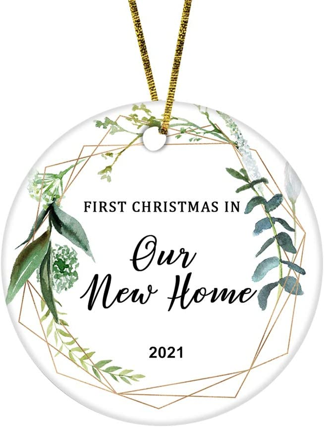 JUPPE First Christmas in Our New Home 2021 Ornament Mr & Mrs Newlywed Decoration Romantic Couples Gift (White-1)