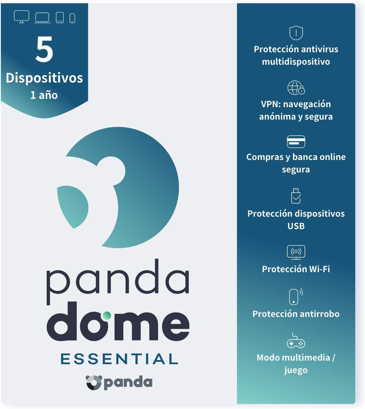 Panda Dome Essential 2021 – Software Antivirus | 5 Dispositivos | 1 año | VPN | Banca Segura | Bloqueo Antirrobo | Protección Wifi