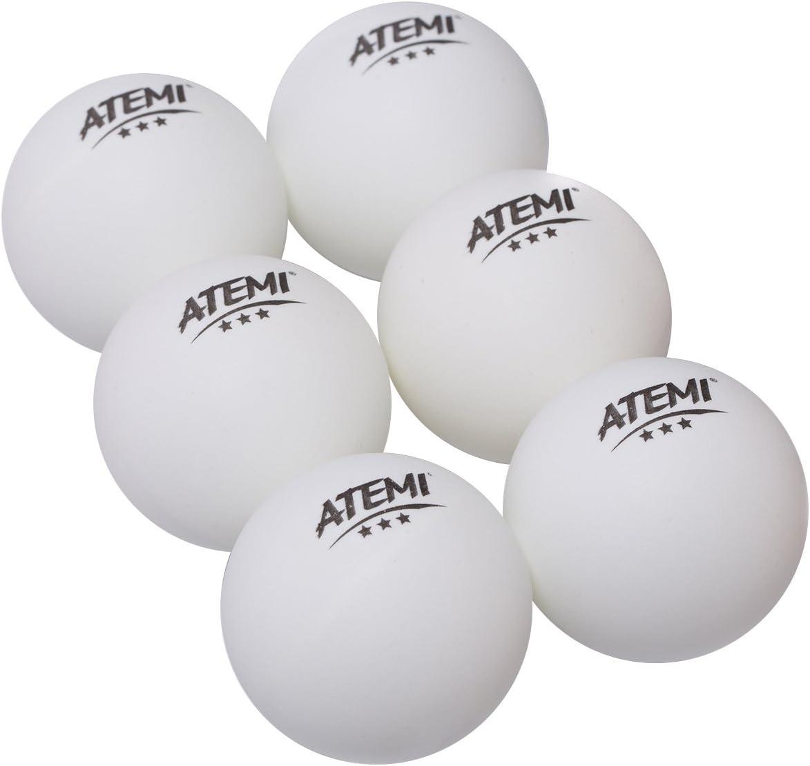 Atemi - Pelotas de Ping Pong de 3 Estrellas Profesionales Reglamentarias de 40mm (6 Unid) | Uso Interior/Exterior | Set de Tenis de Mesa Estándar| Rebote Redondez Dureza Mejorados | Naranja o Blanca