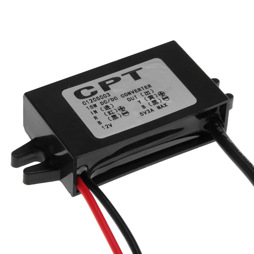 CARCHET/® DC12V auf DC5V 3A Stromwandler Step Down Spannungswandler Konverter Micro-USB