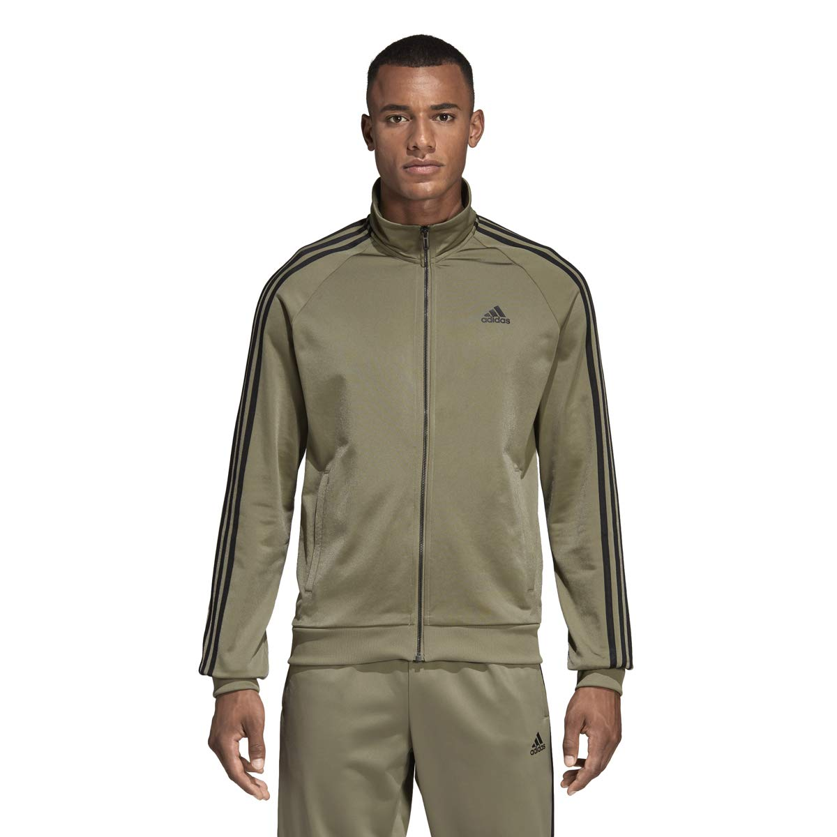 adidas Essentials 3S Tricot Track Jacket Men's All Sports M Trace Cargo by adidas (Image #3)
