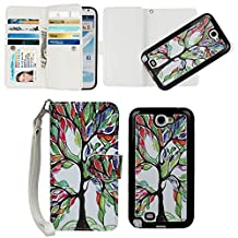 Case for Samsung Note 2, xhorizon TM SR Premium Leather Folio Case [Wallet] [Magnetic Detachable] Wristlet Purse Flip Multiple Card Slots Case Cover for Samsung Note 2 [Tree]