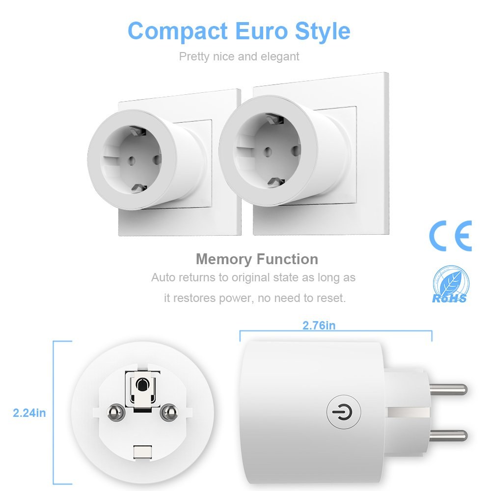 Enchufe Inteligente Wifi,LONGKO Smart Enchufe Inal/ámbrico Compatible con Alexa Echo Google Home e IFTTT WiFi salidas con temporizador y funci/ón de cuenta regresiva 2 Pack