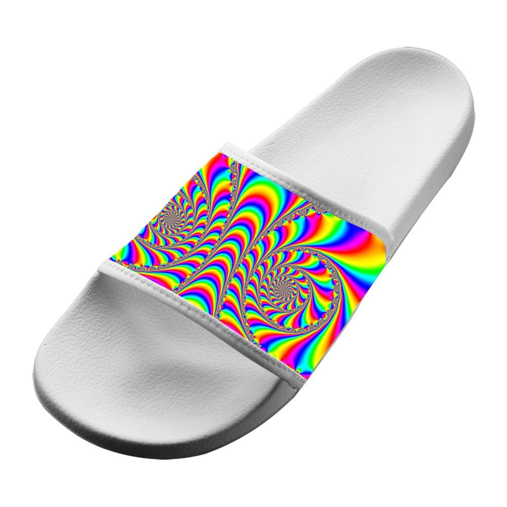 4a6d5b2700a2 Amazon.com  Original Trippy Rainbow Slippers Home Couple Flat Sandals Open  Toe Flip-flop  Clothing