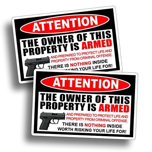 Second 2nd Amendment Warning Sticker Attention Home Owner Armed Handgun Gun Pistol Vinyl Die Cut Window Door Decal ()
