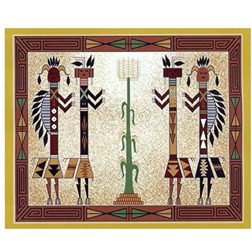 Native American Style Kachina 2 Fleece Throw Blanket 50x60