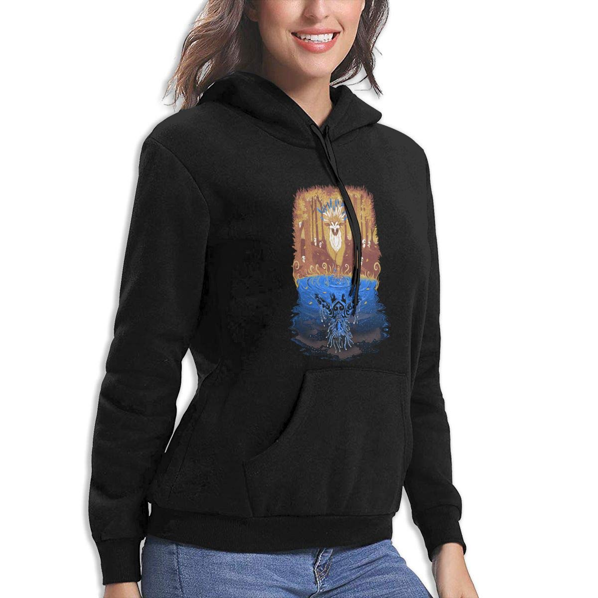 ZALOA Autumn Forest Spirit,Print Funny Womens Sports Hooded Jacket Hoodies Pocket Black