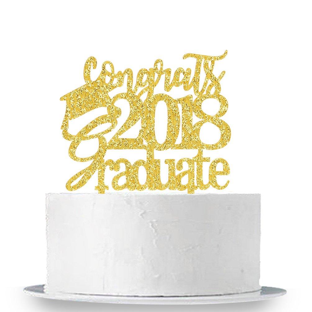 INNORU Congrats 2018 Graduate Cake Topper - Class of 2018 Grad Party Decoration Supplies - High School Graduation, College Graduate Cake Topper