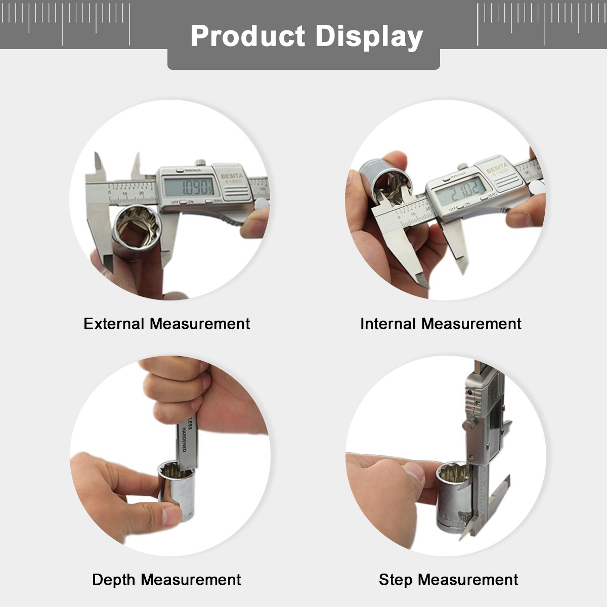 Digital Caliper with Accurate Measurement Inch/Metric ,0-6 Inch/150 mm BESITA Stainless Steel Vernier Caliper IP54 Waterproof Electronic Measuring Tool by BESITA (Image #2)