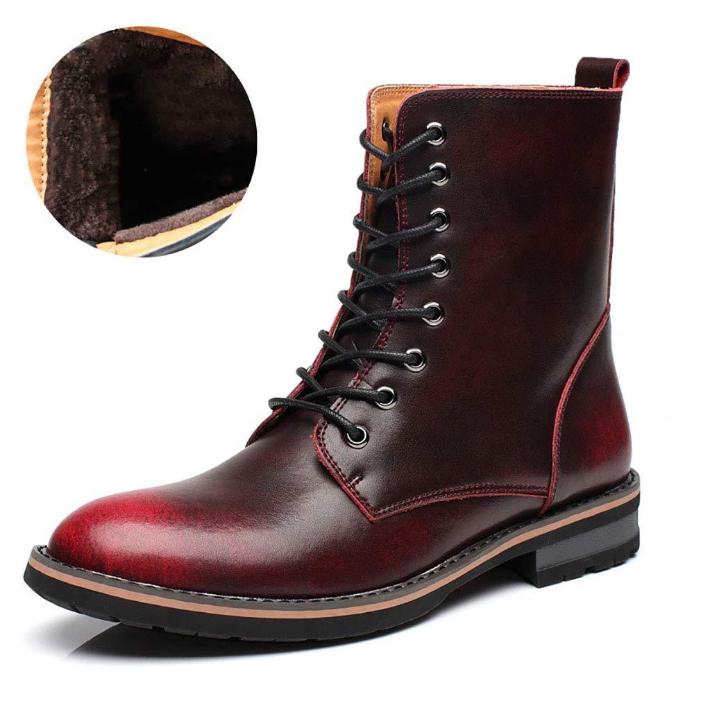 YAN Herrenschuhe Leder Fall & Winter Martin Stiefelspitze Warme Stiefel Im Britischen Stil High-Top-Schuhe Party & Abend Outdoor-Schuhe,B,38