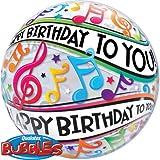 "22"" Happy Birthday Music Notes Plastic Bubble Balloons"