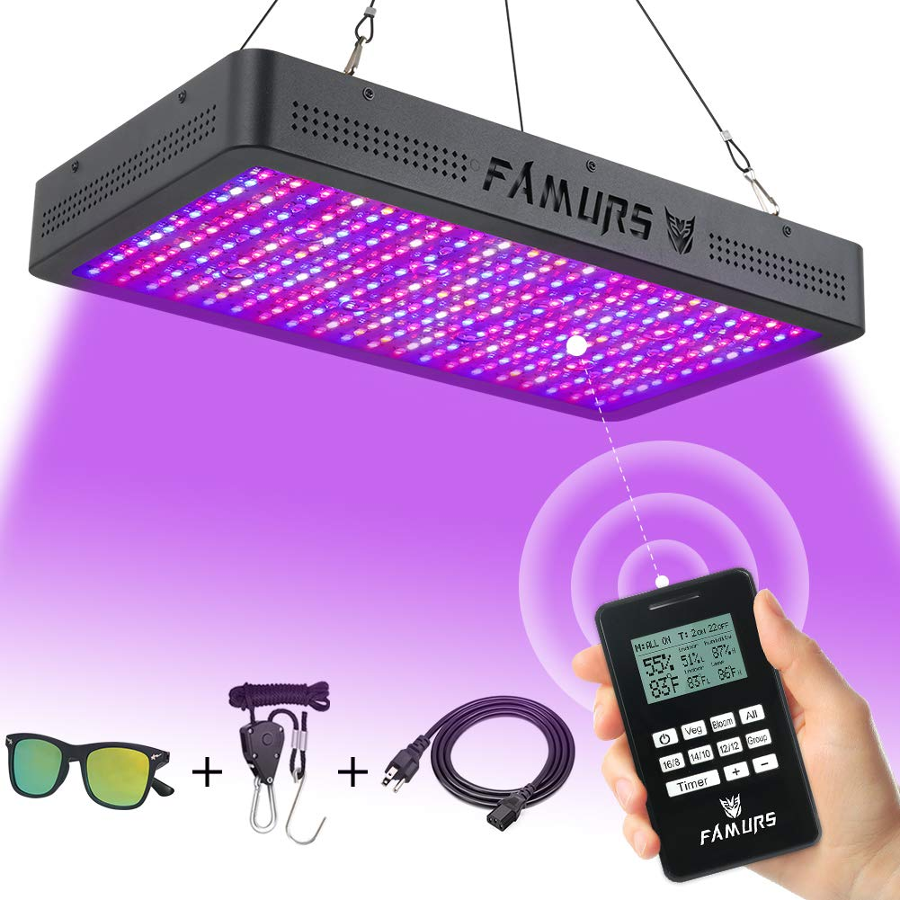FAMURS 3000W LED Grow Light, Remote Control-Series Grow Lamp with Timer/Thermometer Humidity Monitor and Adjustable Rope,Full Spectrum Plant Light for Indoor Plants Seeding Veg and Flower by FAMURS