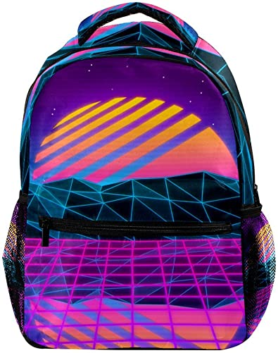 Vaporwave Large Capacity Backpack Unisex Rucksack Fashion Durable Travel Bag for Camping, Shopping, Climbing