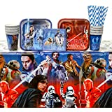 Star Wars Episode 8 - The Last Jedi Party Supplies Pack for 16 Guests: Straws, Dessert Plates, Beverage Napkins, Cups, and Table Cover (Bundle for 16)