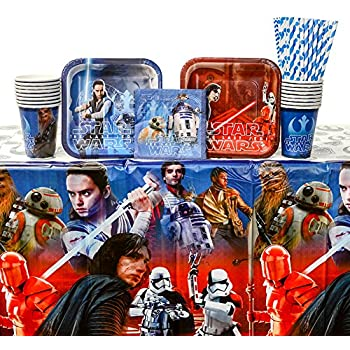 Star Wars The Last Jedi Episode 8 Party Pack for 16 Guests | 24 Paper Straws, 16 Paper Dessert Plates, 16 Beverage Napkins, 24 Paper Cups, and 1 Table ...