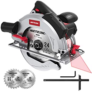 "Circular Saw, Meterk 15Amp 1800w 7-1/2"" Circular Saw with Laser Guide, 4700RPM with 2 Pcs Cutting Blades 24T+40T plus 1 Hex Wrench, Max Cutting Depth 67mm (90°) and 45mm (45°)"