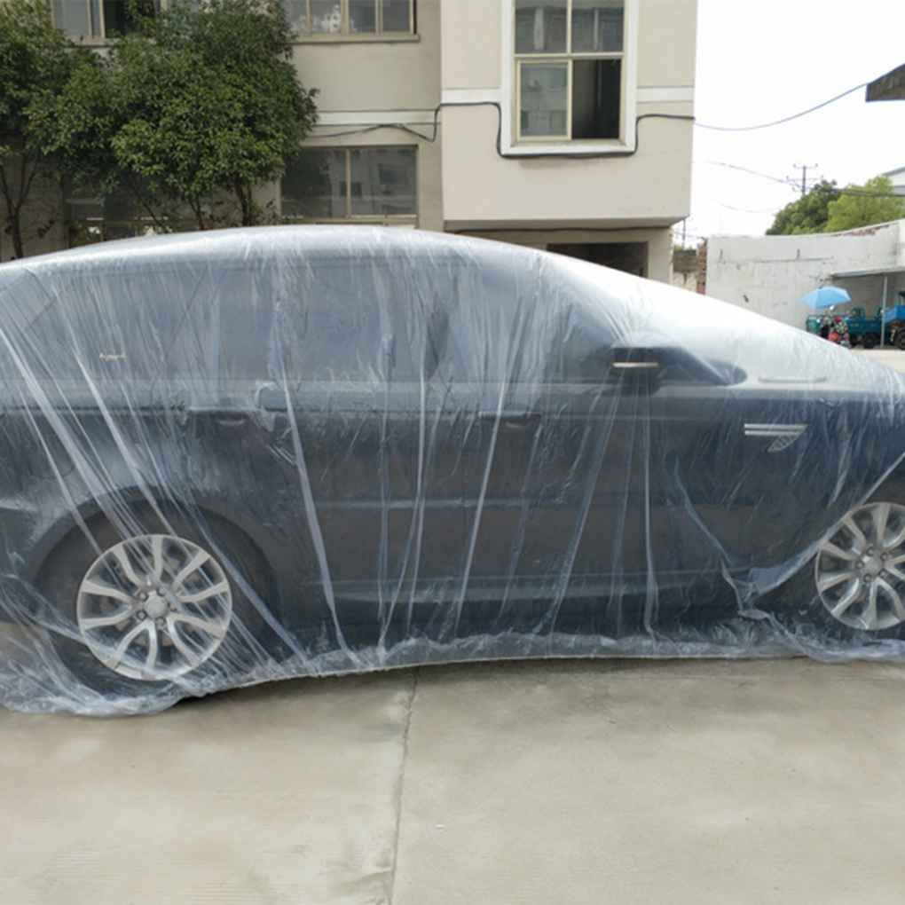 Floridivy Staubdicht Waterproof Car Cover durchsichtiger Kunststoff Universal-Einweg-Auto Garage Shielder Schutz im Freien XL