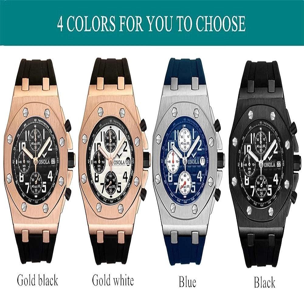 Orologio da polso multifunzione cronografo da uomo casual al quarzo moda orologio da polso impermeabile tutto in metallo oro nero per uomo Nero4