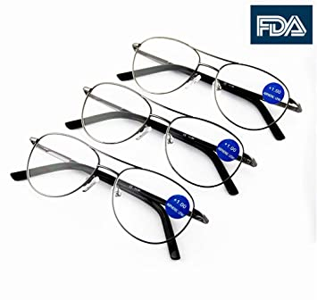cb607180910 3-Pack Men Women Quality Metal Spring Hinged Full Frame Reading Glasses  Readers Hard Case n Cloth +1.50 150  Amazon.co.uk  Health   Personal Care