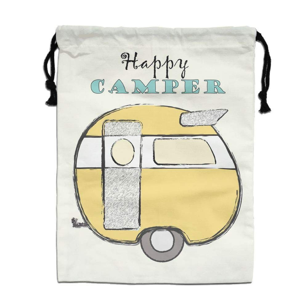 Personalized Drawstring Bag-Happy Camper Holiday/Party/Christmas Tote Bag by CMTRFJ