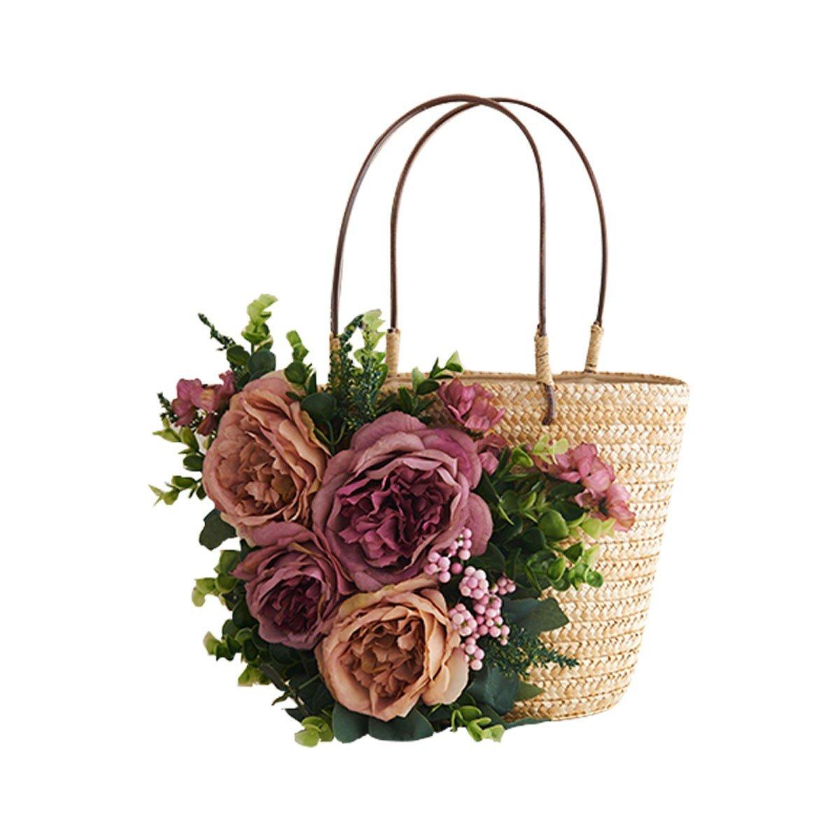 WFYJY-Blumen und Stroh Gewebte Taschen Beach-Taschen Stroh Taschen Rattan Gewebt Taschen handgenähte Taschen Modische Frauen Taschen.