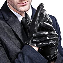 Golovejoy Mens Genuine Leather Gloves Touchscreen Winter Driving Warm
