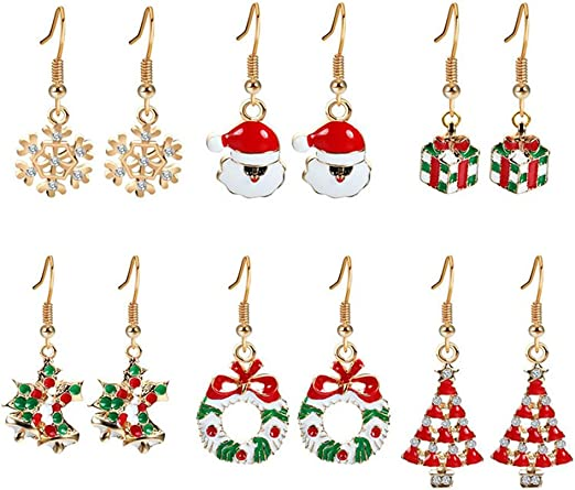 itemer moda Navidad Pendientes Gota Dangle Pendientes – colgante ...