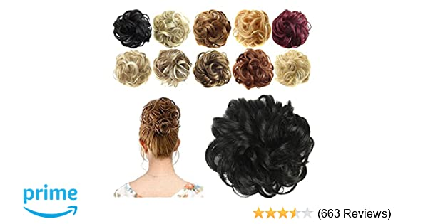 Amazon Feshfen Synthetic Hair Bun Extensions Messy Hair