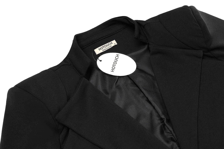 03aefc093f18e Hotouch Women s Business Professional Plain Ruffled Double-Lapel Blazer  Jacket Black S at Amazon Women s Clothing store