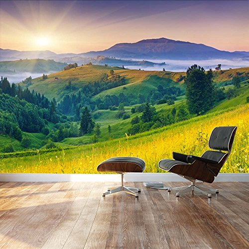 Wall Mural, Removable Sticker, Home Decor (100″x144″, Sunset Over Beautiful Hills)