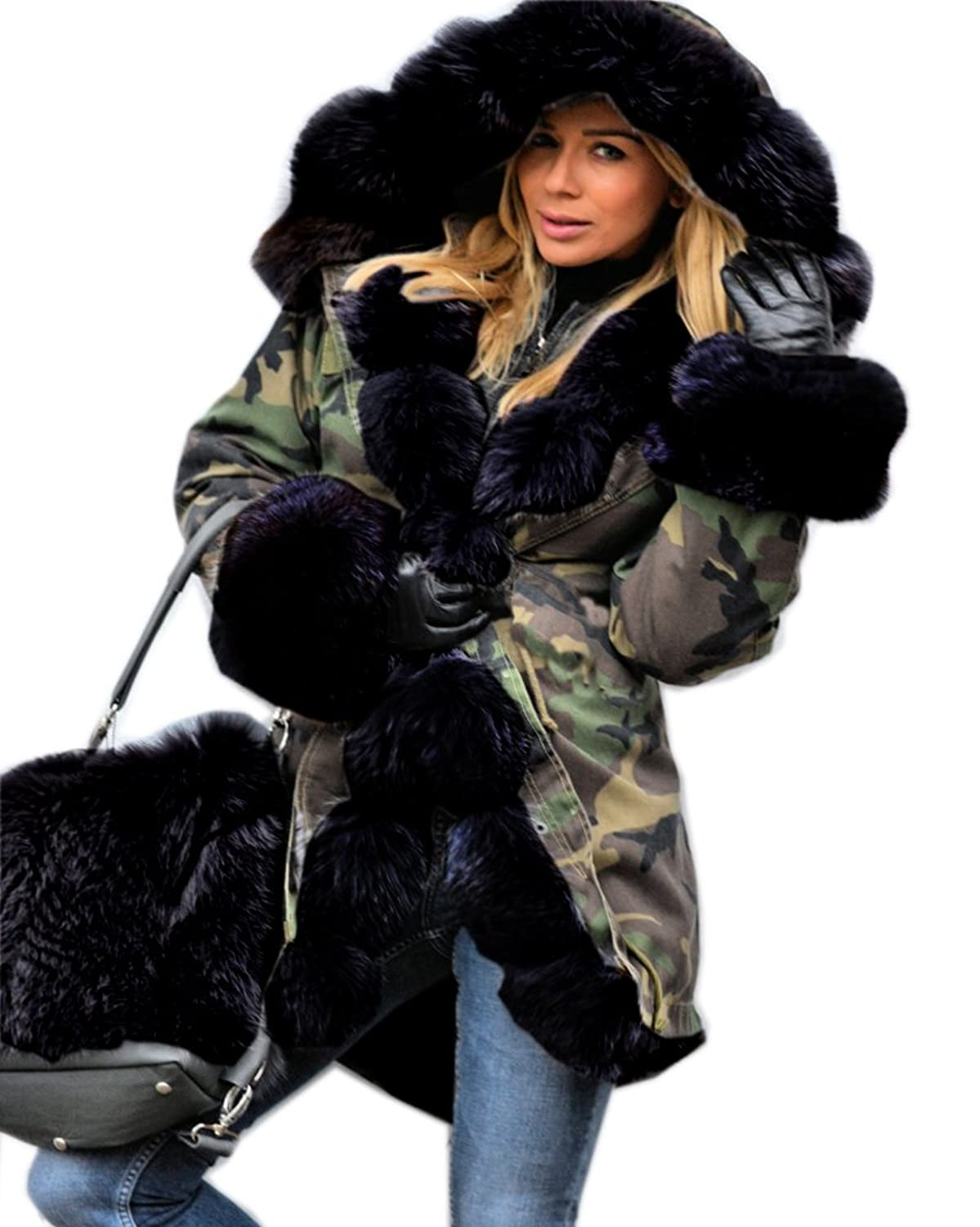 Roiii Women's Faux Fur Hooded Cotton Padded Sweaters Parka Coat ...