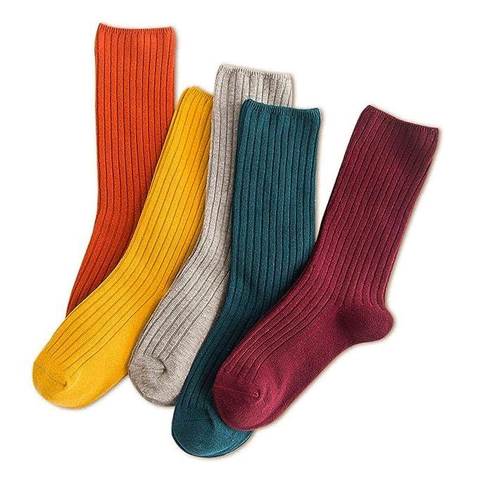 Augrustmaria Mori estilo japonés calcetines de otoño e invierno calcetines finos estilo sólido estilo de muy buen gusto calcetines de media pantorrilla para ...