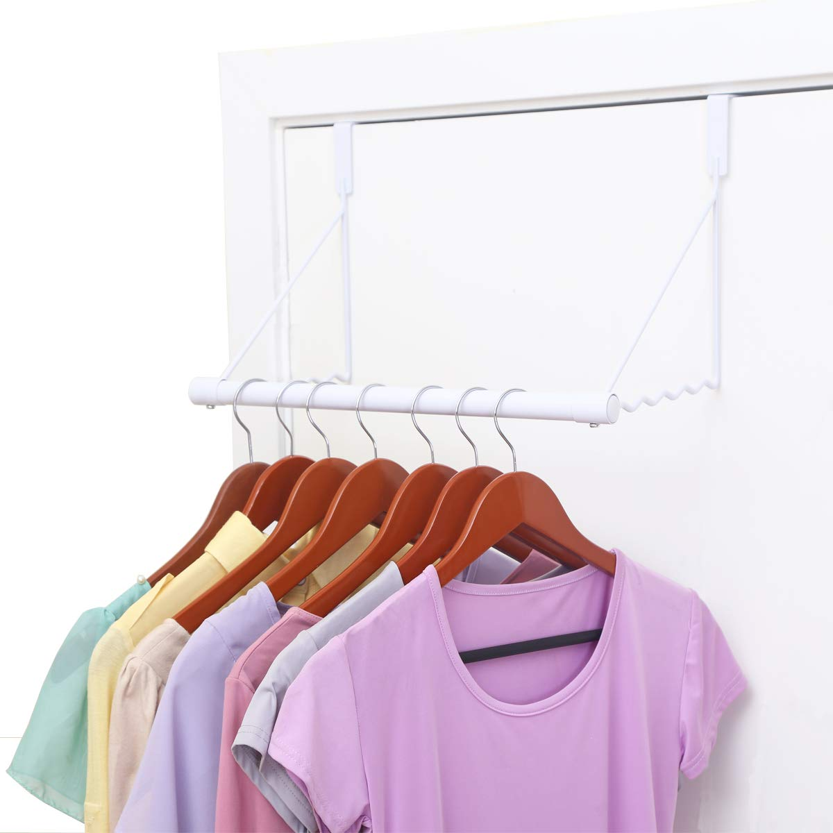 MAX Houser Over The Door Closet Rod, Over The Door Clothes Organizer Rack and Door Hanger for Clothing or Towel,Home Storage and Organization, Easy Installation (White)