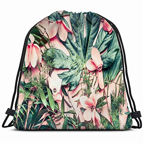 - Creative Layout Made Tropical Flowers Palm Nature Drawstring Backpack Sports Gym Bag For Women Men Children Large Size With Zipper And Water Bottle Mesh Pockets