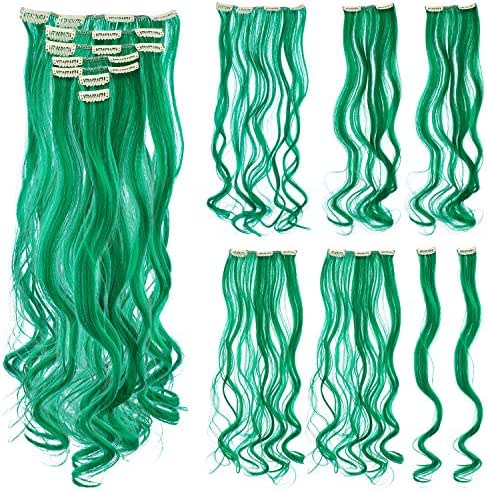 SWACC 7 Pcs Full Head Party Highlights Clip on in Hair Extensions Colored Hair Streak Synthetic Hairpieces (20-Inch Curly, Green)