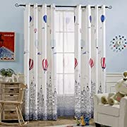 Melodieux Hot Air Balloon Window Thermal Insulated Grommet Top Curtains Kids Room, 52 84 inch, Cream White (1 Panel)