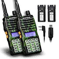 Baofeng - 2PCS UV-5XTP 8W Dual Display VHF136-174MHz UHF400-520MHz Handheld Two-way Radio Standby Transceiver Walkie Talkie+Backup Battery+Programming Cable