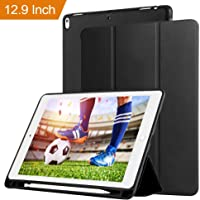 Oaky Smart Case Cover Compatible with iPad Pro 12.9 inch 2017 Case Cover with Pencil Holder Magnet Protective Function Auto Sleep/Wake Cover Model [ A1670/A1671/A1584/A1652] for iPad Pro 12.9 - Black