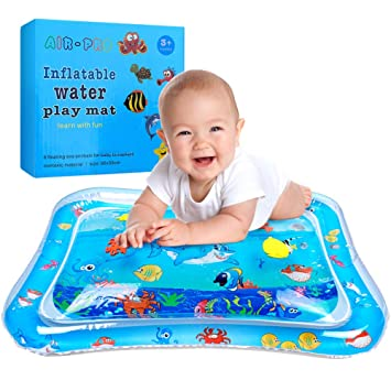 Alfombra Inflable con Agua, Swonuk Tummy Time Mat 66 * 50 Juego de Esterilla de Agua PVC Grueso Inflable Alfombra de Juego de Agua para Bebés para ...