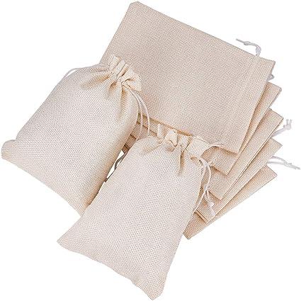Imagen deBENECREAT 25 PCS Bolsas de Arpillera con Cordón Envase de Regalo Color de Crema para Fiesta Boda y Almacenamiento de Cosas Pequeñas 18x13cm