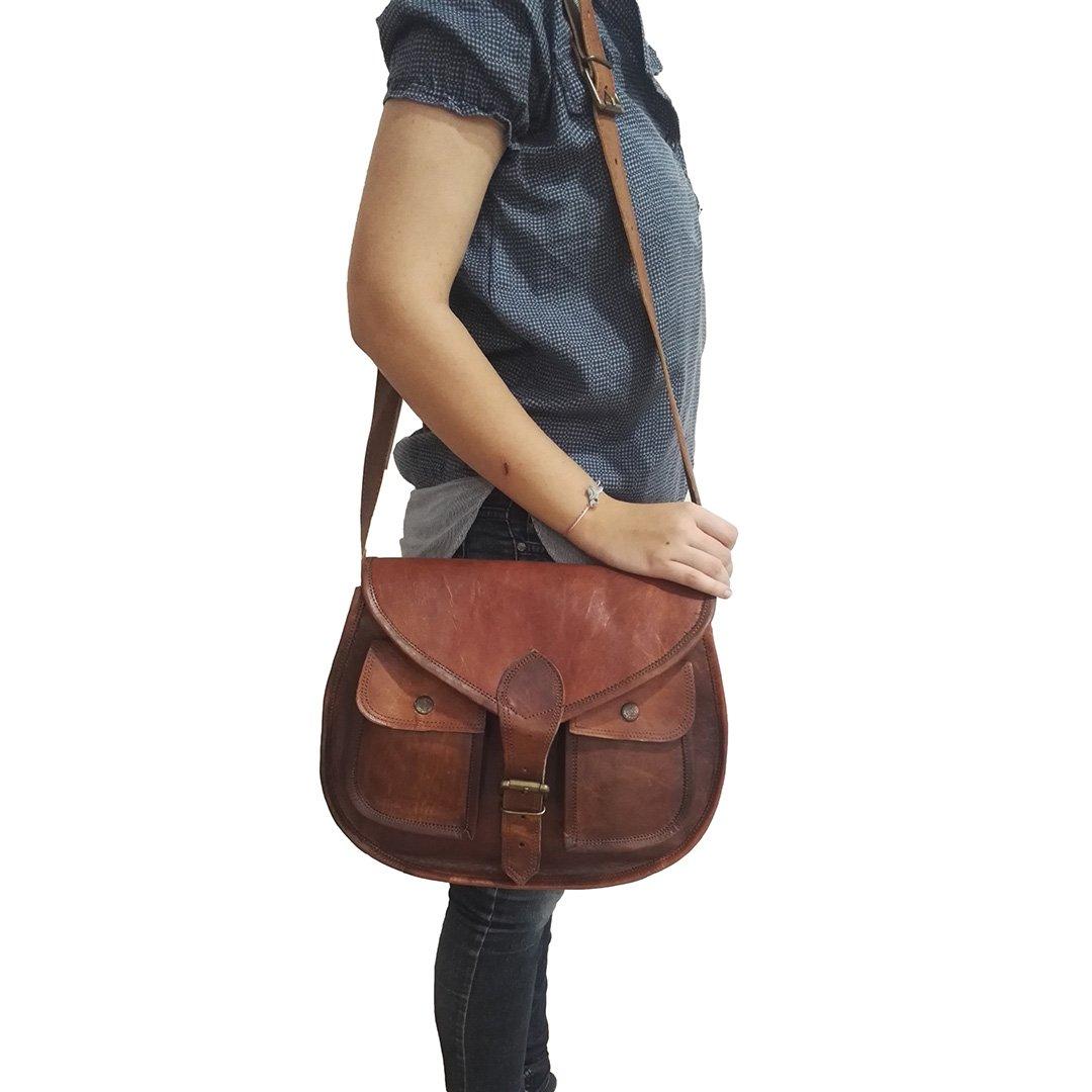 Damen Vintage Cross-Body Satteltasche Satteltasche Satteltasche aus echtem Leder Schulter Seitenschlinge Büro Reise Geldbörse B07L6H2W5J Schultertaschen Elegantes Aussehen b2235d