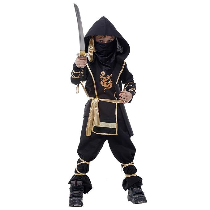 Amazon.com: 7PC Boys Ninja Deluxe Costume Halloween Kids ...
