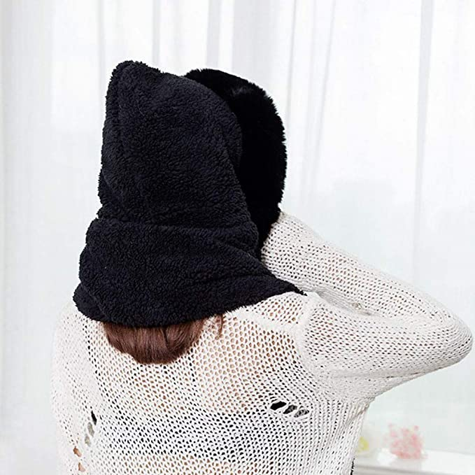 0f42602d668 Clearance Chaofanjiancai Womens Faux Fur Winter Warm Fluffy Hood Scarf Hat  Ladies Snood Pocket Hats Gloves at Amazon Women s Clothing store
