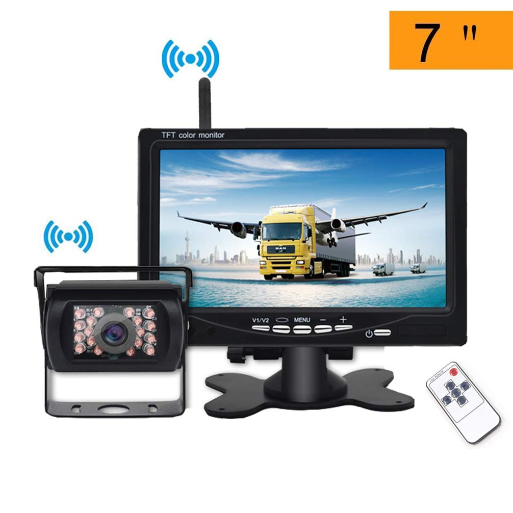 Digital Wireless Reversing Camera Kit 12V//24V Clear Image Car Backup Cameras Parking Assistance Night Vision Waterproof with 7 inch LCD Rear View Car Monitor for RV Truck Trailer Bus Safe Driving