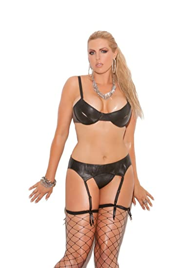 1b883c052c31c Elegant Moments EM-L5106X Under wire Peek-a-Boo Leather Bra plus sizes 40  Black Leather  Amazon.co.uk  Clothing